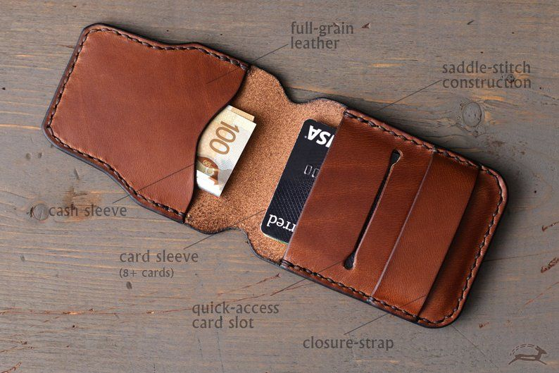 Minimalist Wallet Leather Cardholder | Men's Wallet | Personalized Wallet | Slim Wallet Business Card Holder | Travel Wallet | Badge Wallet