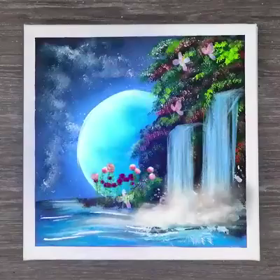 Amazing Painting of Waterfall