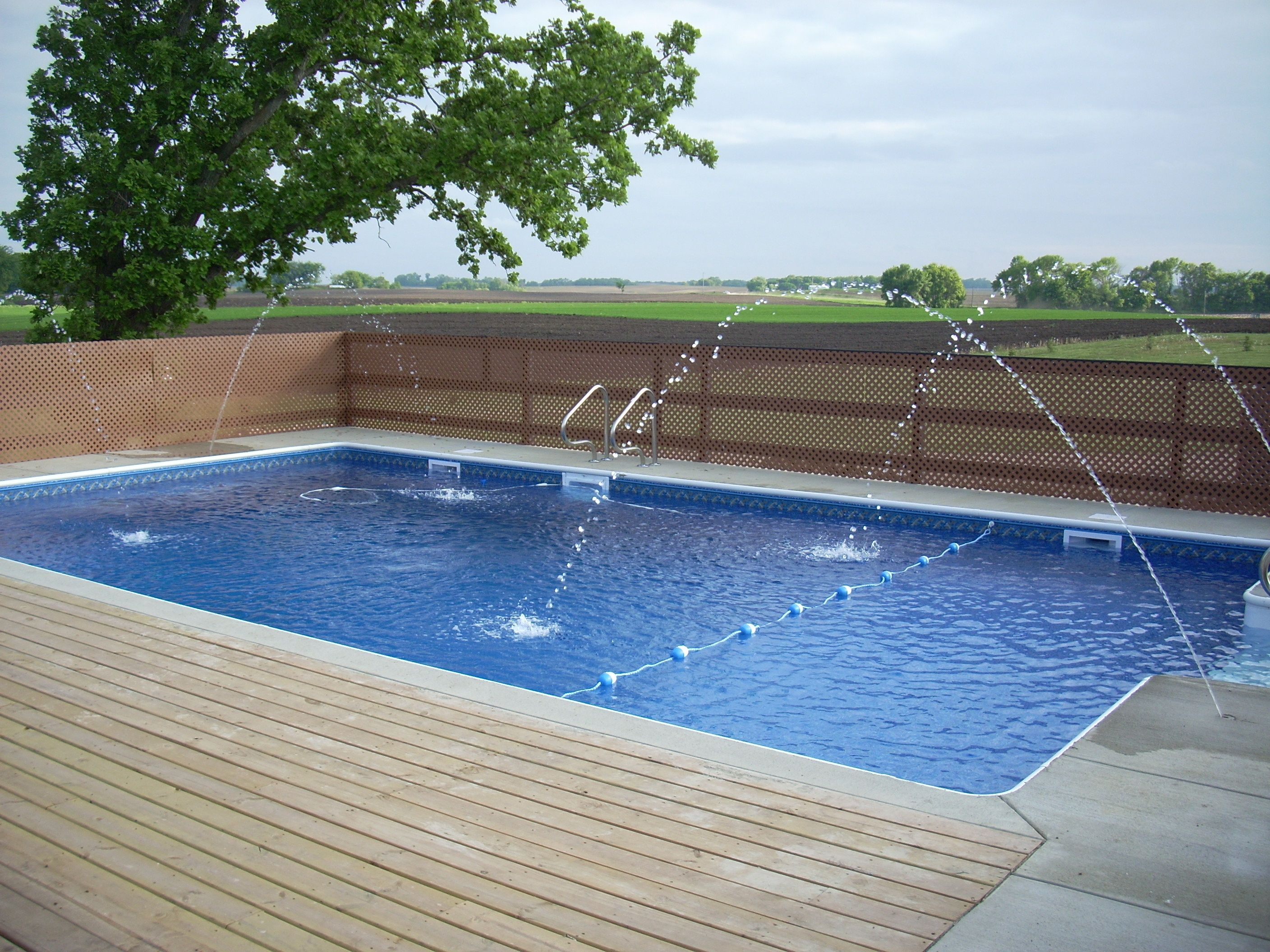 Inground Pool Surround Ideas semi inground pool with deep end Inground Swimming Pool Installed By Tc Pools When Im Older I Want To Have