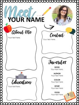 Meet The Teacher  Editable Handout For Back To School  Classroom