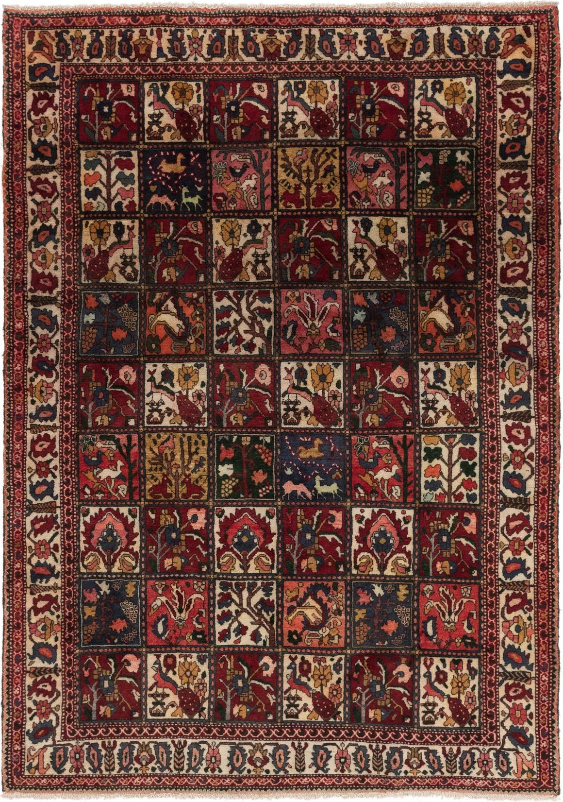 Bakhtiari Red Antique 7x10 Area Rug In 2020 Antique Persian Carpet Persian Rug Rugs
