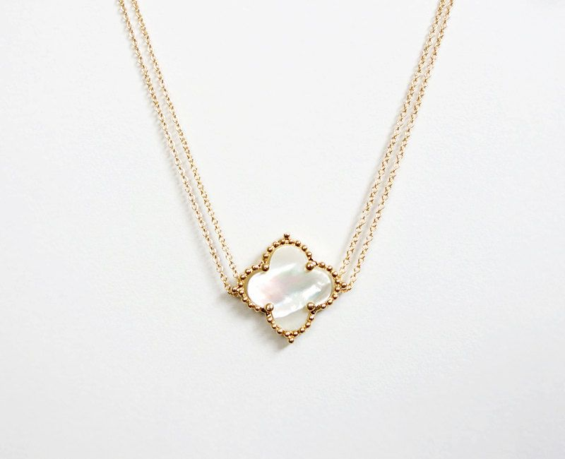 Mother of Pearl Leaf Pendant Elegant Genuine Shell Chain Necklace Jewellery