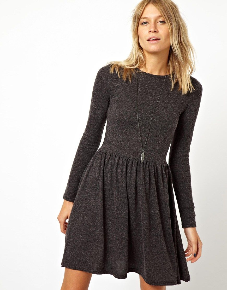 ASOS+Skater+Dress+In+Nepi+With+Long+Sleeves