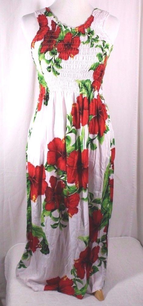 68f03a2232c95 Bali Chic Hawaiian Floral Smocked Bodice Tank Dress Size S - M Tropical  Sundress #BaliChic #Sundress #SummerBeach
