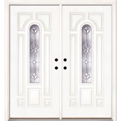 white double door. Feather River Doors 74 In. X 81.625 Medina Zinc Center Arch Lite Unfinished Smooth Right-Hand Fiberglass Double Prehung Front Door White L