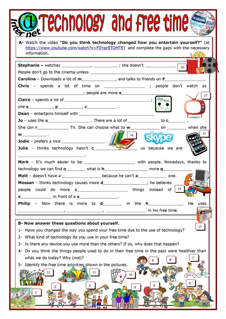 Technology and free time worksheet Free ESL printable
