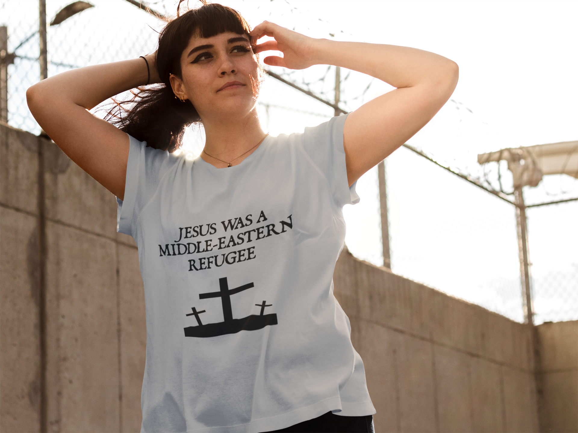 Jesus was a middle eastern refugee christian liberal t-shirts and clothing