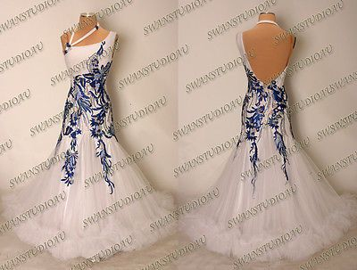 NEW READY TO WEAR WHITE STIFF NET BALLROOM DANCE COMPETITION DRESS SIZE US 4