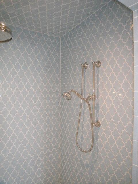 Merveilleux Smoke Grey Glass Arabesque Tile In The Shower.  Https://www.subwaytileoutlet.com/products/Smoke Arabesque Glass Tile.html#.VW9cXflViko  More
