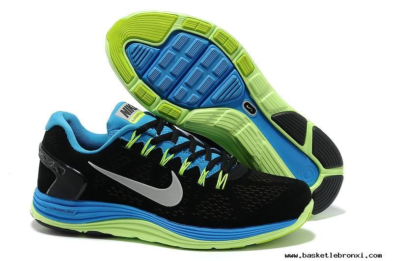 Authentic Mens Nike LunarGlide 5 Suede Black Blue Fluorescence Green Silver Shoes