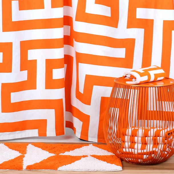 Meander Shower Curtain Orange White Shower Bath Rugs And Towels