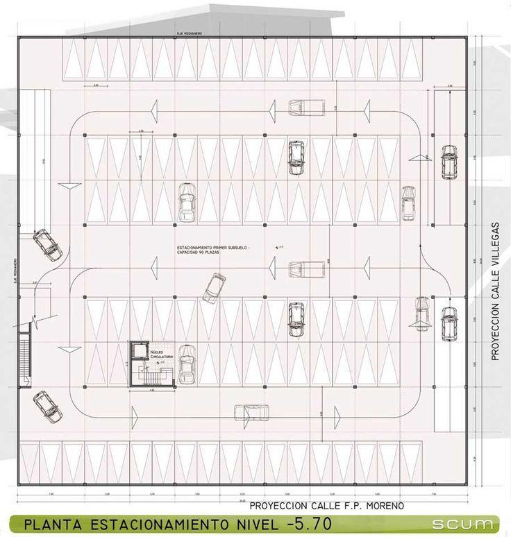 Resultado de imagen para planos de estacionamientos con for Planta arquitectonica con medidas