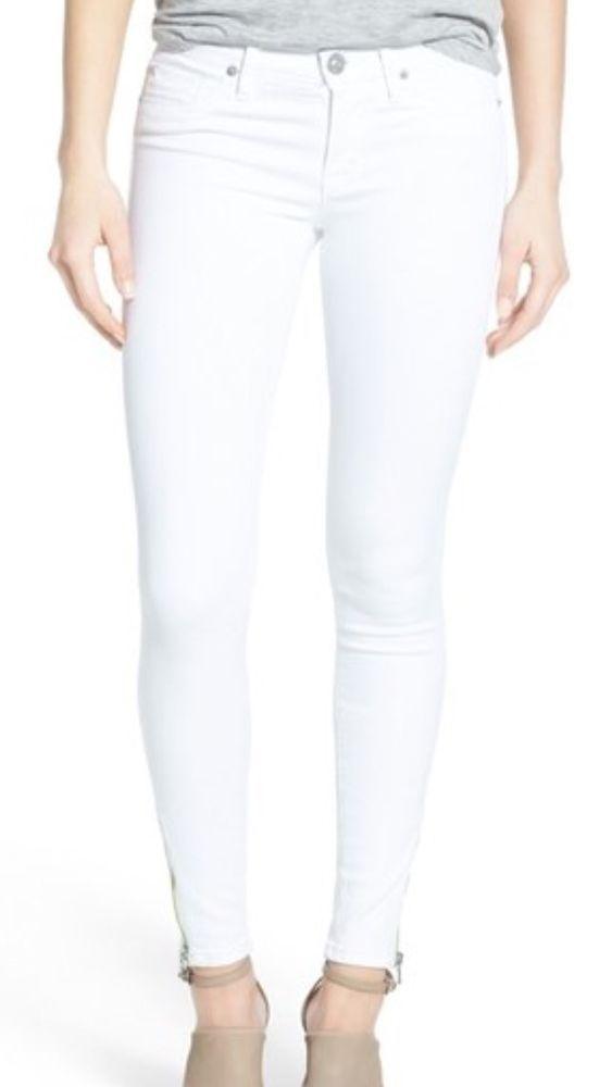 Michael Kors Zip Leg White Ankle Skinny Jeans Women's Stretch Size 8 NWT $120 #MichaelKors #SlimSkinny