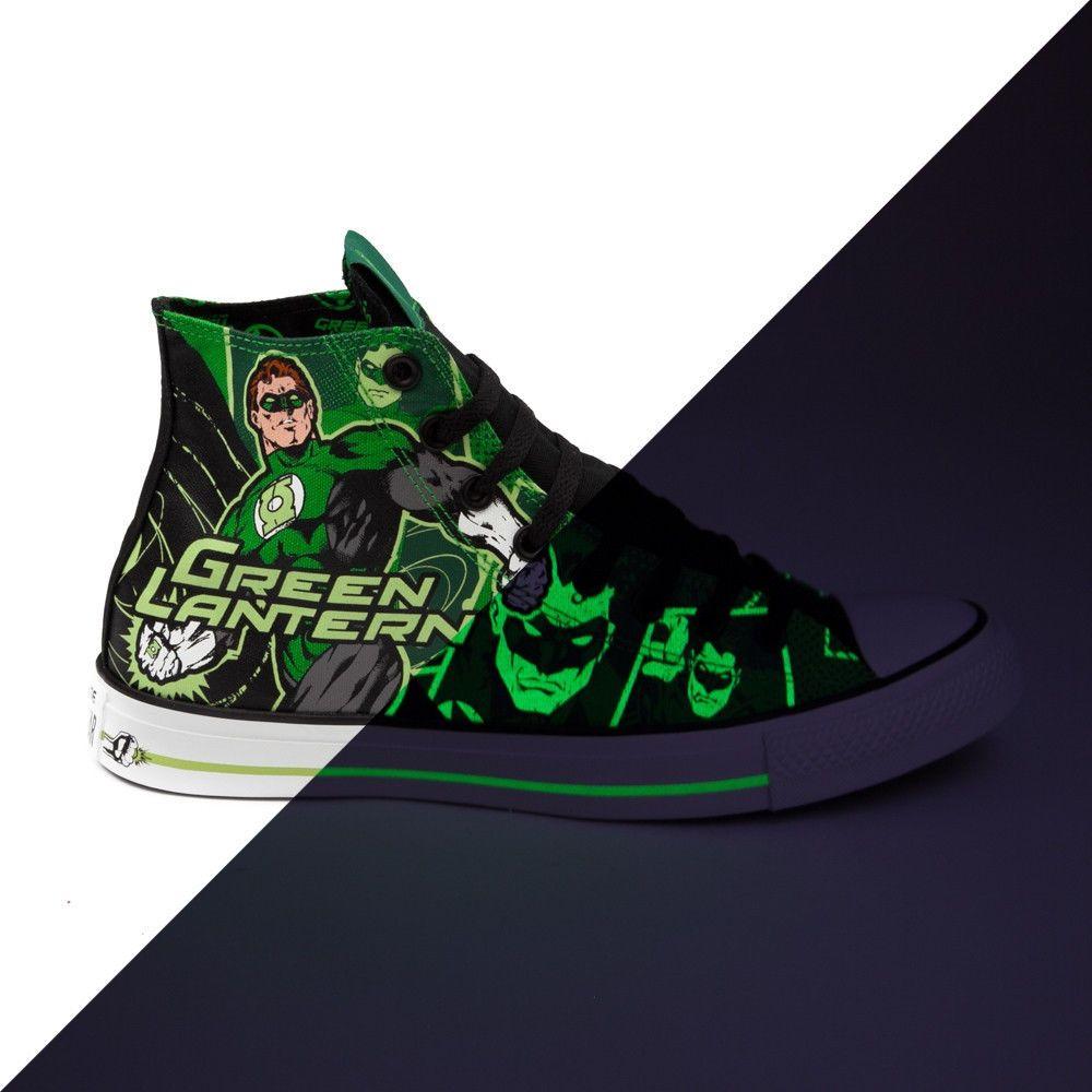 a2d833f86de5 New Converse All Star GREEN LANTERN GLOW in the Dark Shoes DC Comics Hi High
