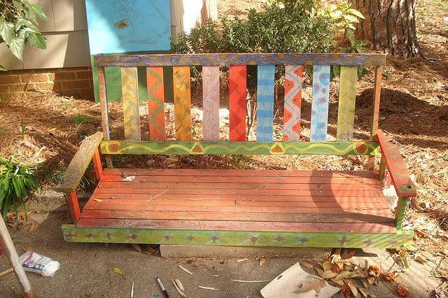 Painted Porch Swing Porch Swing Diy Painting Hand Painted Furniture