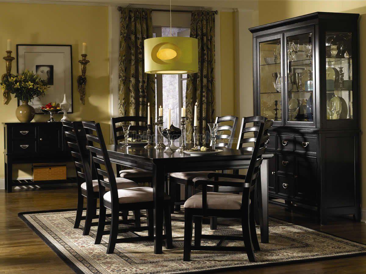 Contemporary Black Finish Dining Room w/Shiny Silver Hardware