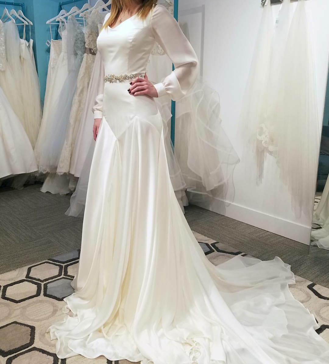 5eda3a49bea bishop sleeve wedding dress inside alta moda bridal