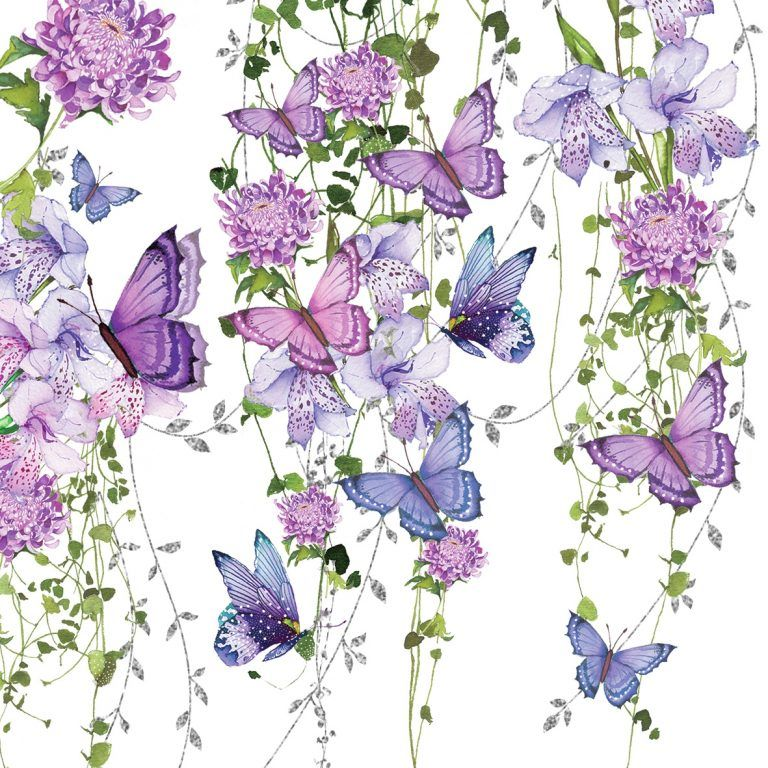 Decorative Paper napkins of Butterflies in the purple scene with blooming garden | Decoupage Paper