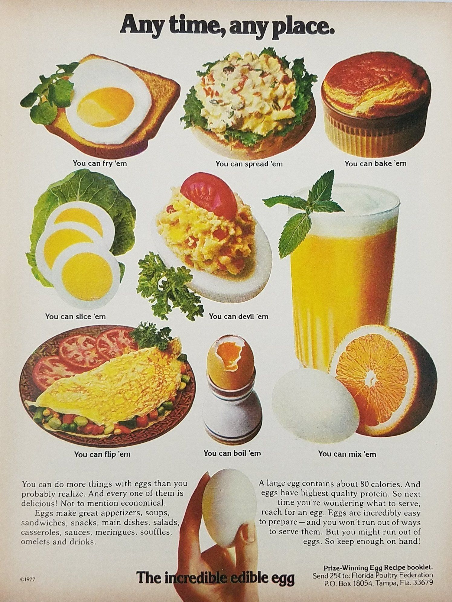1977 Incredible Edible Egg Vintage Ad - Any Time Any Place