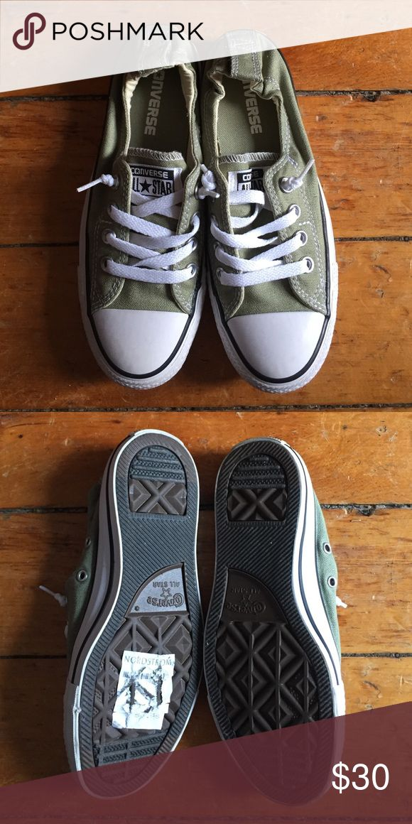 332f2e2a53ad Selling this Khaki Green Converse All Star Slip-Ons on Poshmark! My  username is  laurconnell.  shopmycloset  poshmark  fashion  shopping  style   forsale ...