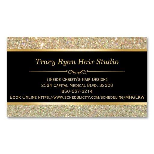 Makeup Artist Hair Stylist Funky Gold Glitter Busi Business Card