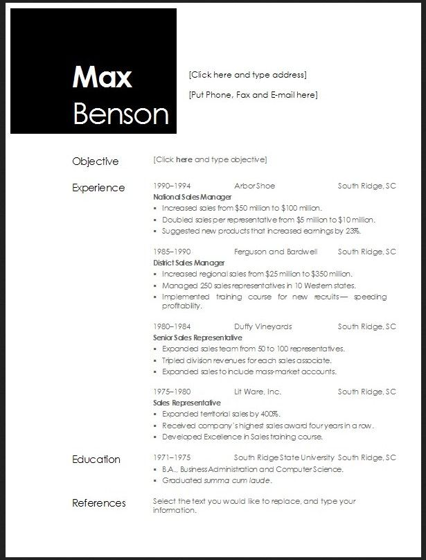 Free Open Office Resume Template  HttpJobresumesampleCom