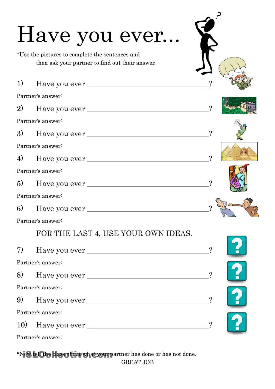 Workbooks tenses practice worksheets : Present Perfect Conversation Practice | ESL 2 | Pinterest ...