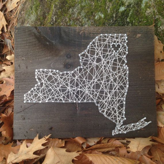 New York State String Art - Can Be Customized - Nail Art - Wall Art - & New York State String Art - Can Be Customized - Nail Art - Wall Art ...