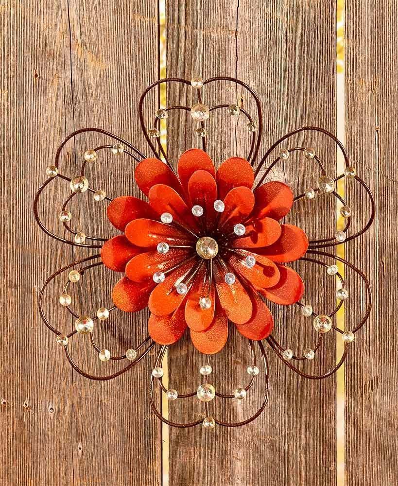 Orange flower jeweled metal wall art sculpture indoor outdoor floral