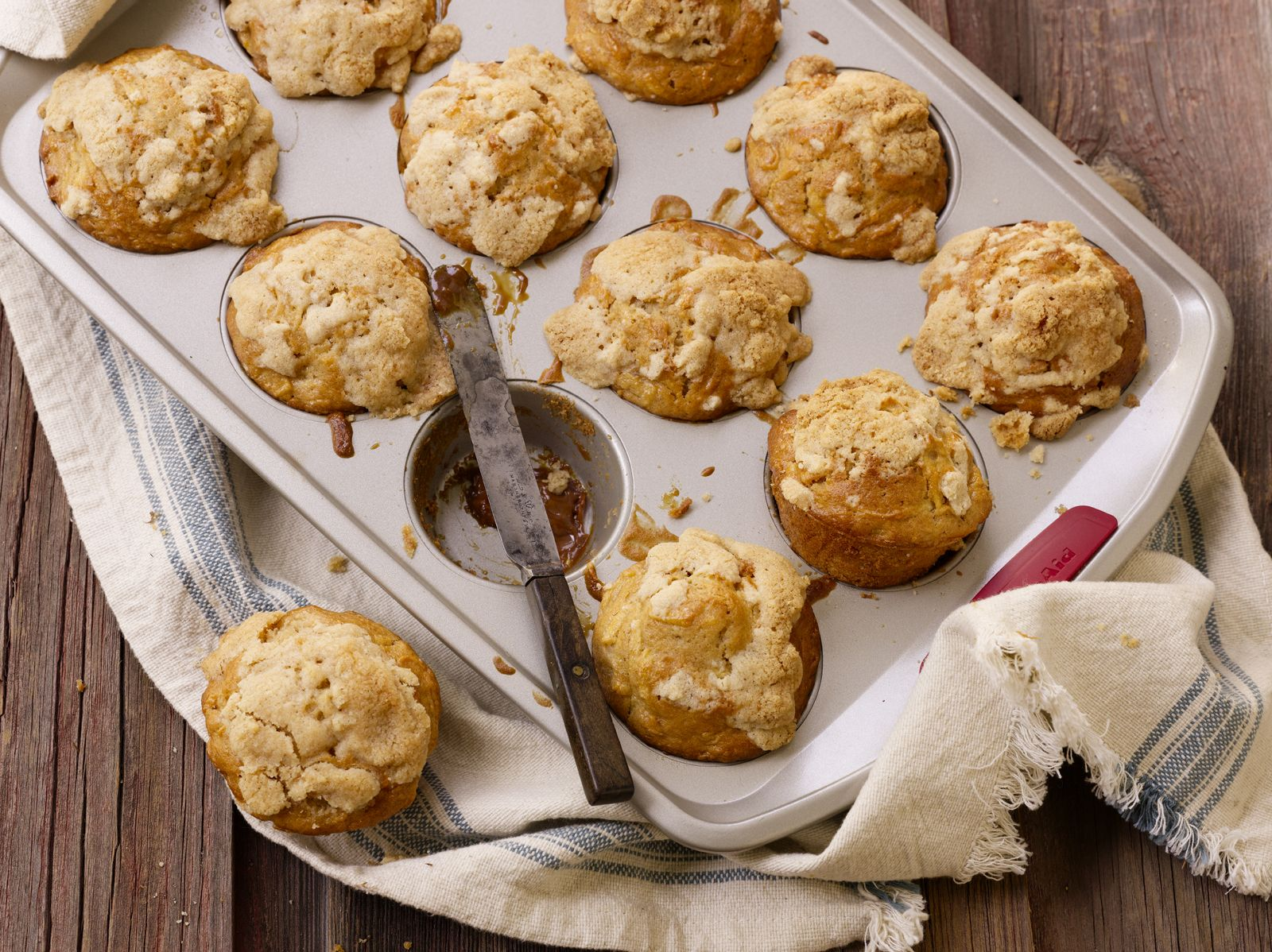 Apple cinnamon muffins caramel centers food photo david