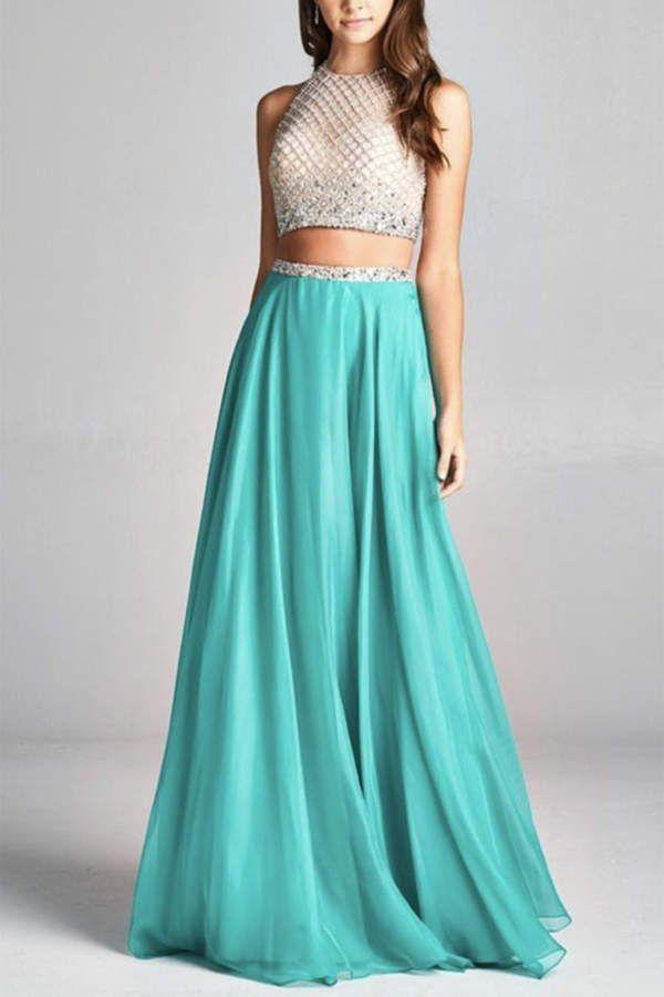 ASPEED DESIGN Two-Piece Prom Dress. #teal #dress #cream #prom 2018 ...