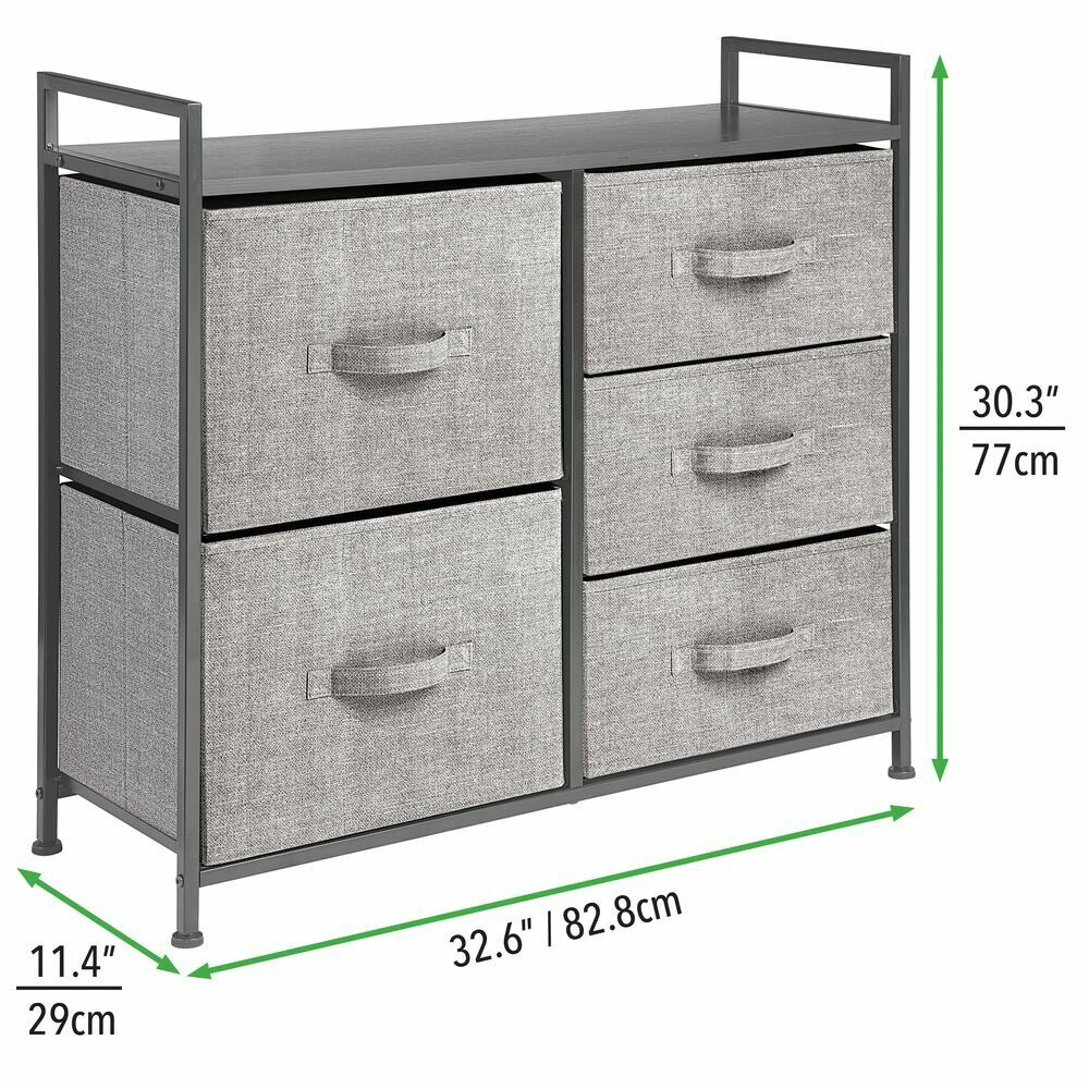 mDesign Wide Dresser Storage Tower - Sturdy Steel Frame, Wood Top, Easy Pull Fabric Bins - Organizer Unit for Bedroom, Hallway, Entryway, Closets - Textured Print, 5 Drawers 5 DRAWER CHEST: Features 5 removable drawers; Use in or out of the closet and kee