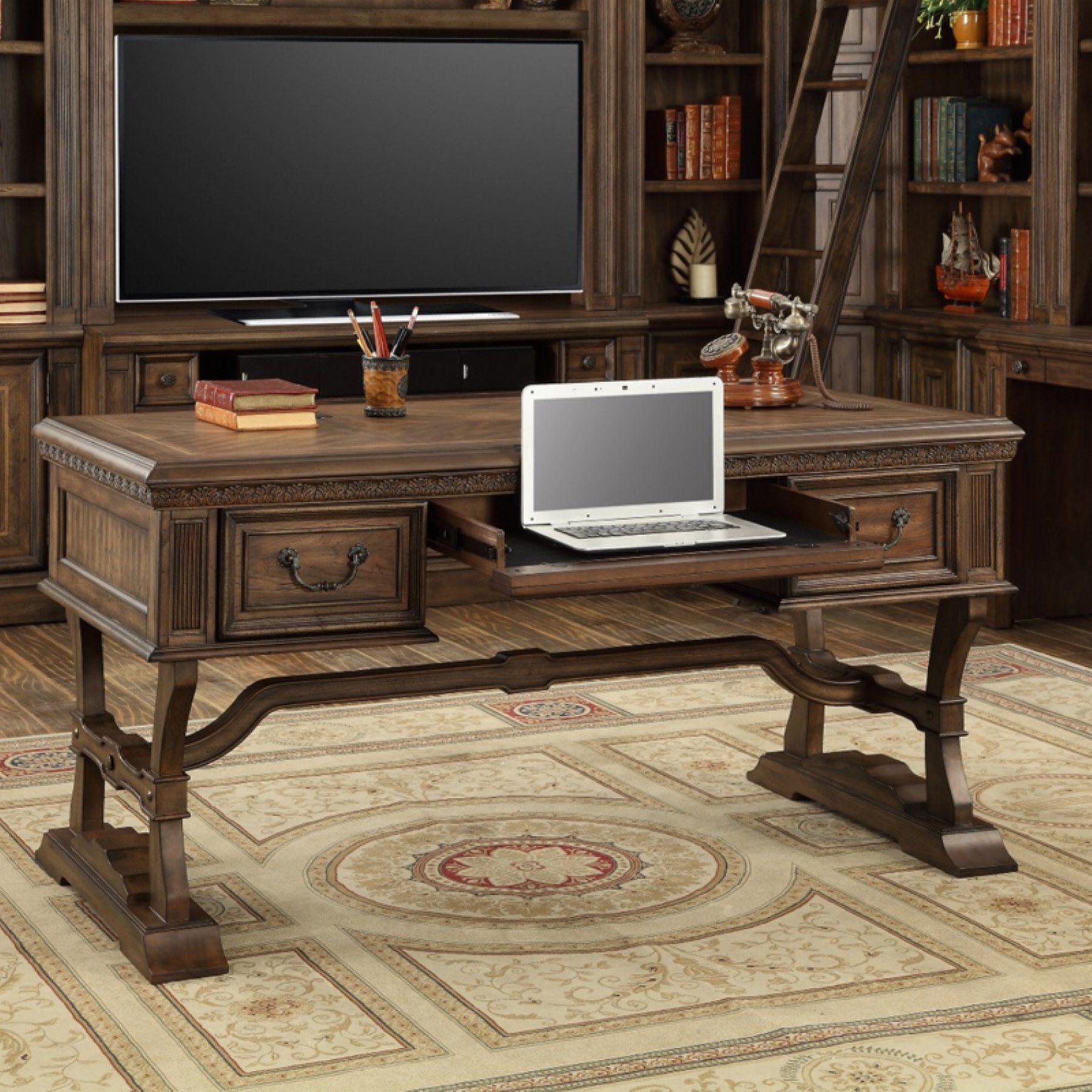 Parker house aria library writing desk antique vintage smoked pecan ari485