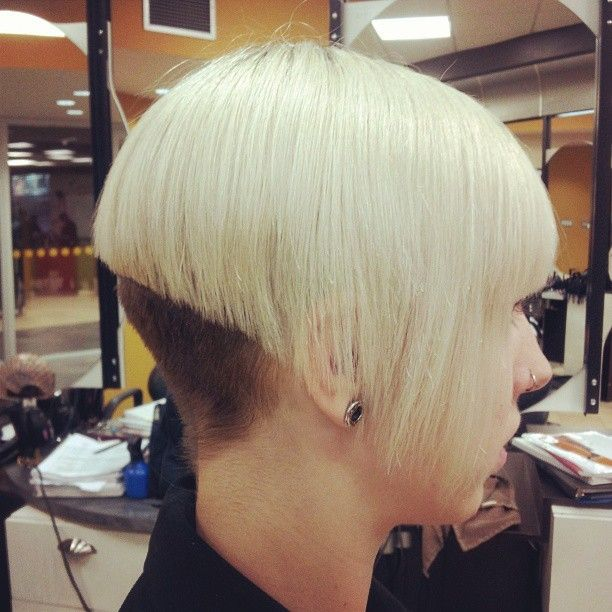 bleached blonde with buzzed brown nape Bob haircuts with