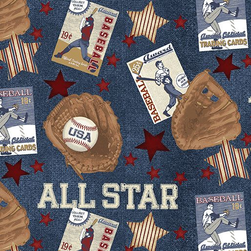 Elizabeth/'s Studio Allstar baseball Sports Black 100/% cotton fabric by the yard