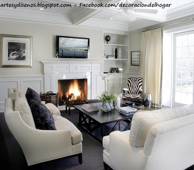 Living salas con chimeneas by for Decoracion clasica moderna interiores