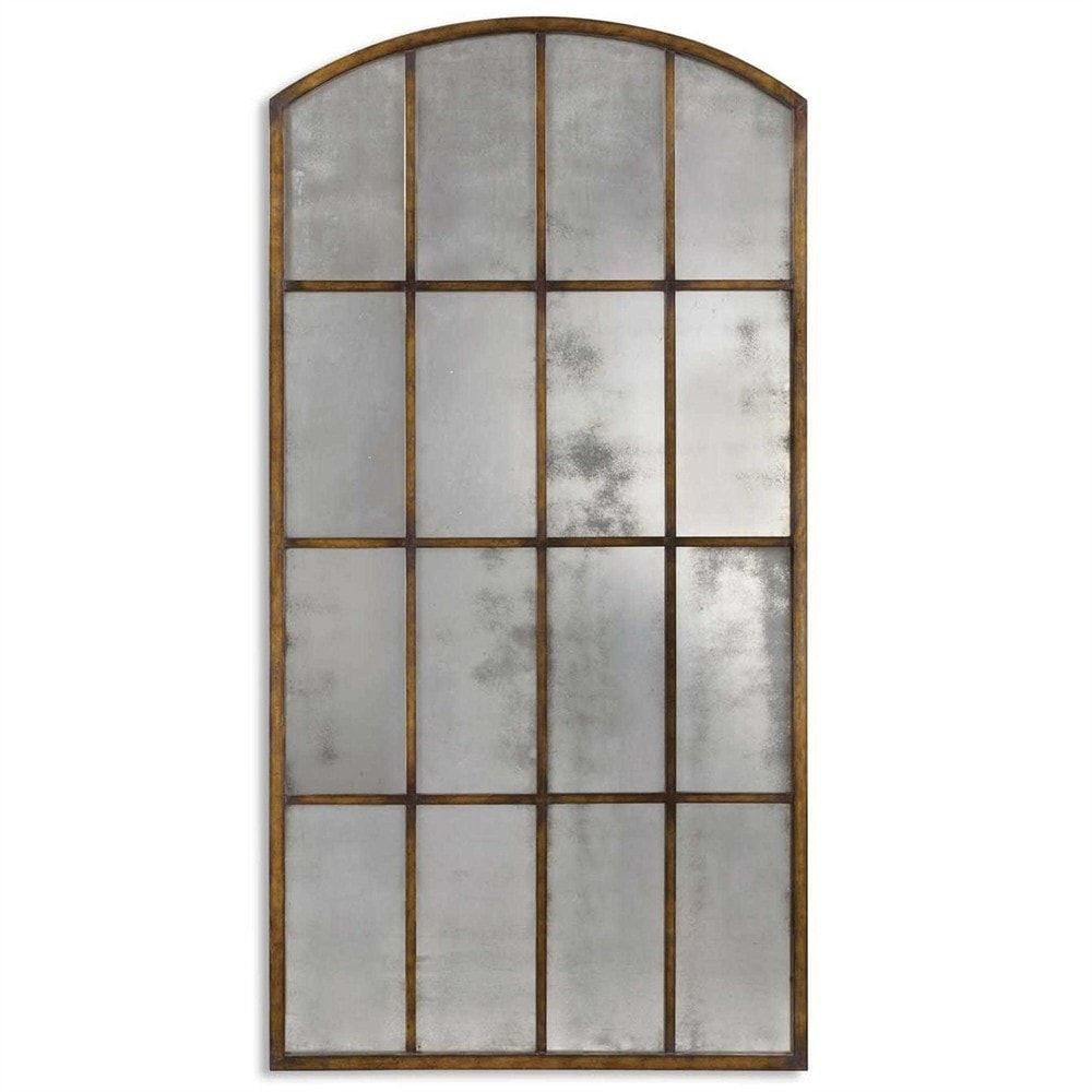 Uttermost Amiel Large Arch Mirror 13464 P This Antiqued Features A Hand Forged Metal Frame Finished In Heavy Maple Wash With Gold Highlights And