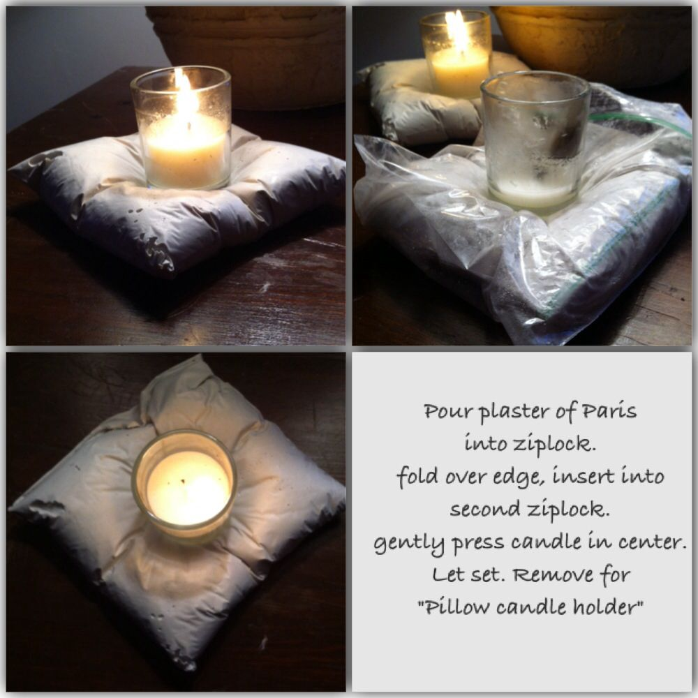 """Plaster of Paris """"pillow"""" candle holder"""