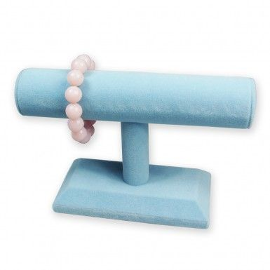"""Deluxe Velvet T-Bar Display, 7 1/2""""L x 4 7/8""""H, Blue or Pink www.nilecorp.com"""