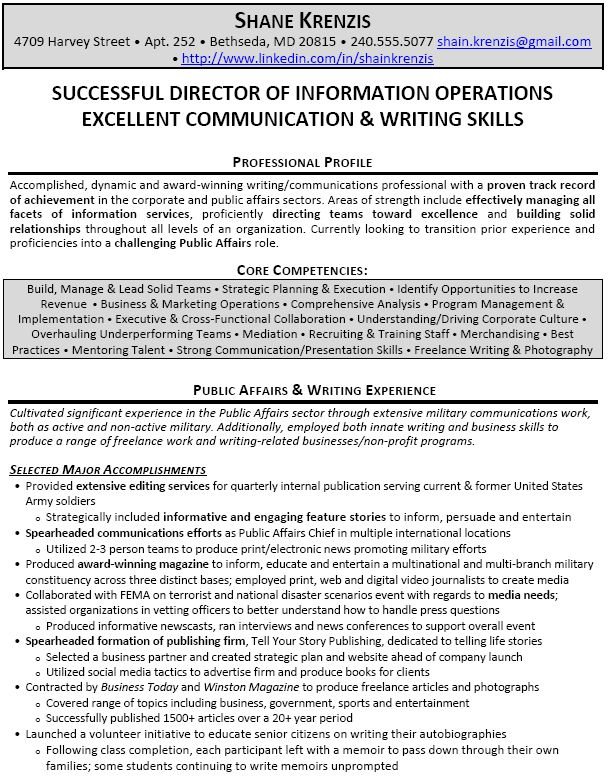 resume examples director operations template manager Home Design - military resume example