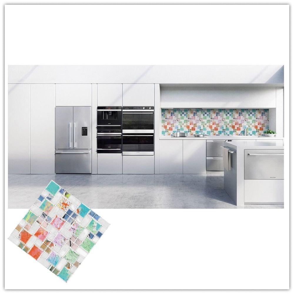 Mosaic Tile Self Adhesive Backsplash Wall Sticker Bathroom Kitchen ...