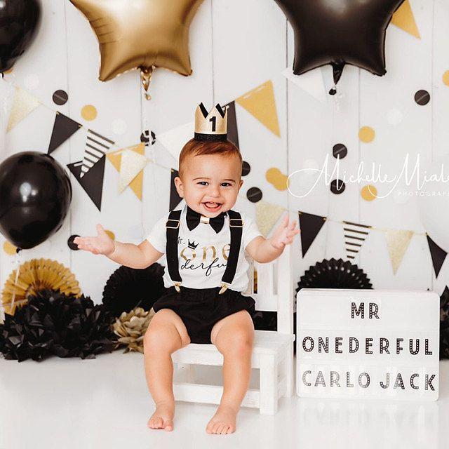 Mr onederful cake smash outfit, 1st birthday boy outfit, cake smash outfit boy, Mr onederful outfit, black felt crown, cake smash boy black
