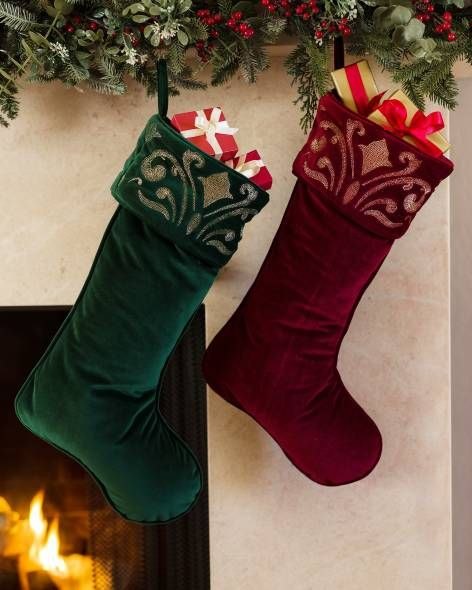 12a64a1a8 Wine Luxe Embroidered Velvet Stocking Main