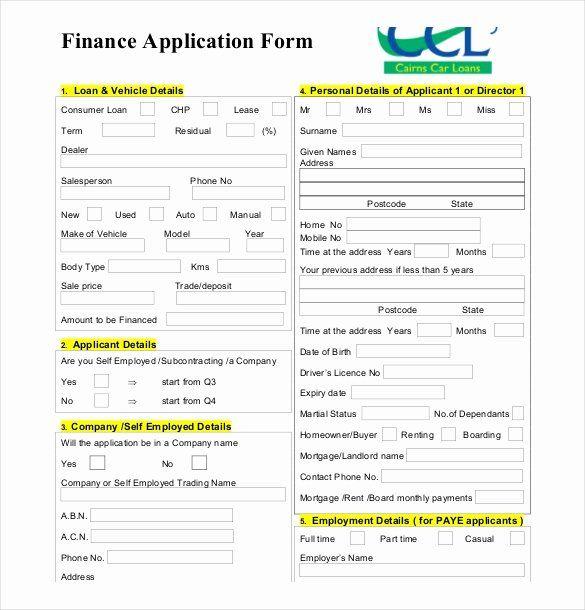 Personal Loan Application form Template New 10 Loan