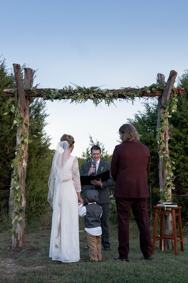 Backyard wedding ceremony in Texas at sunset
