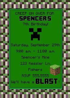 Minecraft Birthday Invitation Minecraft Birthday Pinterest - Minecraft birthday invitation card template