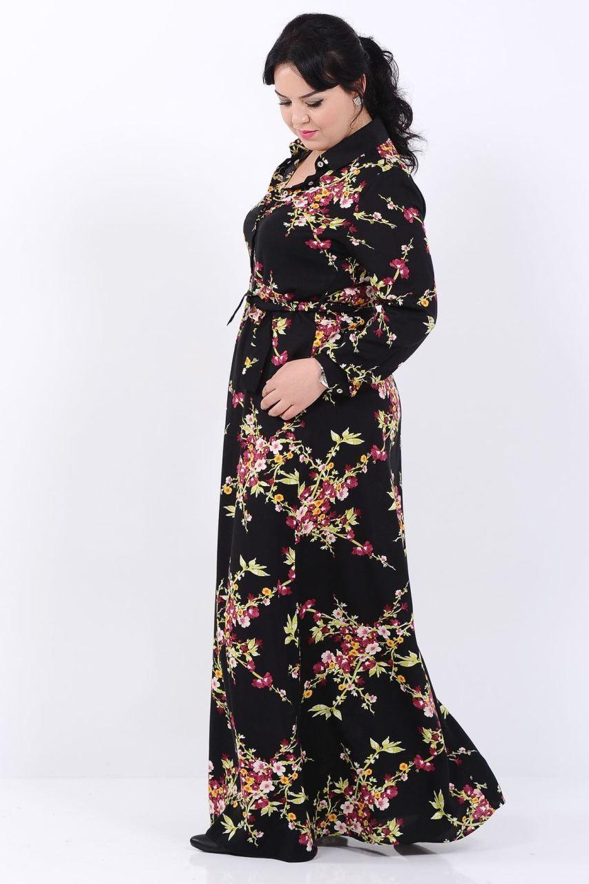 Sari Cicek Desen Dugmeli Buyuk Beden Siyah Elbise Giyim Indirim Kampanya Bayan Erkek Bluz Gomlek Trenckot Hirka Etek Yele Siyah Elbise Elbise Giyim