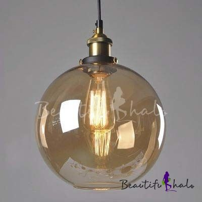 10 Wide Single Light Amber Glass Globe Shade Industrial Pendant