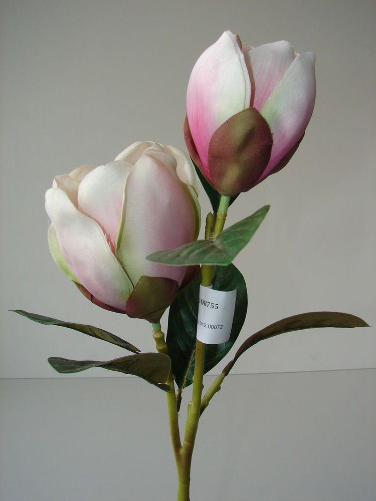 Kunstblumen Seidenblumen Magnolienzweig 95 cm Magnolien Zweig Blüten Blumen rosa