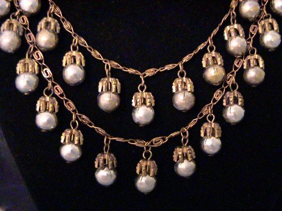 Vintage MONET JEWELERS Silver Bead and Brass Necklace